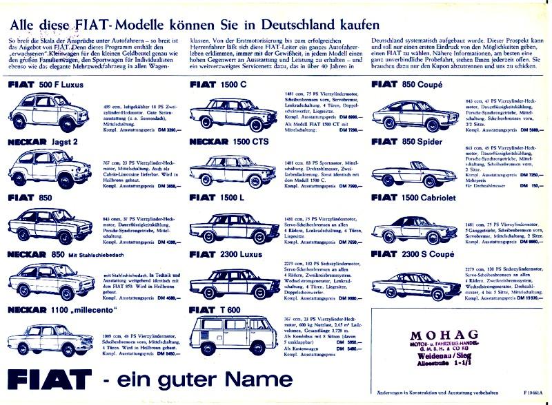 Die FIAT-Preisliste ca. 1968